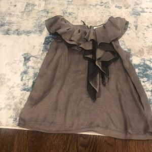 Silver and black sleeveless blouse